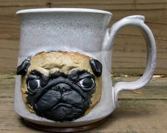 Pug Mug- Blond on Two Toned White