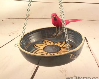 Hanging Bird Bath - Hanging Stoneware Bowl - Handmade Ceramic Yard Décor - Yellow Sunflower Design - Ready to Ship - Blue and Brown g080