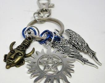 Supernatural Keychain/Bag Clip Anti-Possession Symbol Samulet/Dean's Amulet Wings