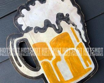 Beer Mug, Beer, Brew, Craft Beer, Vintage-looking upcycled wood sign, hand made, hand painted