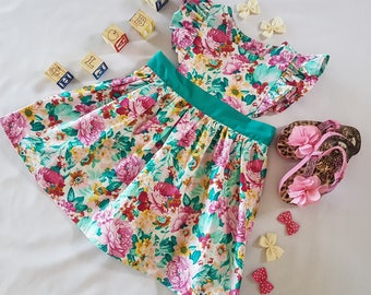 Toddler Pinafore Dress, Girls Floral Pinafore Dress, Pink Pinafore Dress