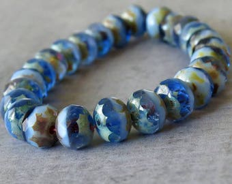 NEW Sapphire Picasso Mix Czech Glass Bead Faceted 7x5mm Rondelle : Full Strand Rondelle