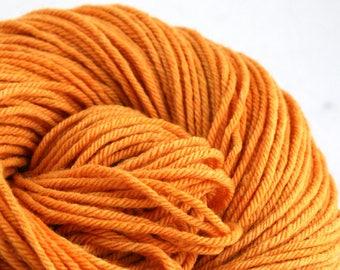 Hand Dyed Aran weight mini Empire Rambouillet Wool 213 yds 4oz Mimosa