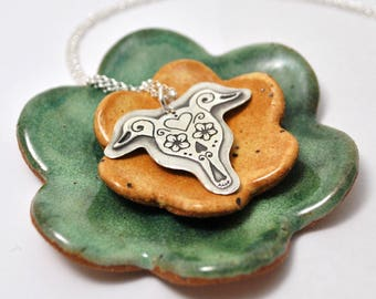 Sugar Skull Greyhound Necklace- Greyhound - Remembrance- Greyhound Jewelry- Fine Silver- Whippet- Galgo- Italian Greyhound- Day of the dead