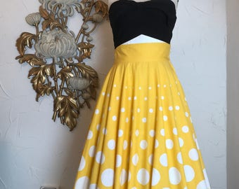 1980s skirt yellow skirt polka dot skirt size small 26 waist circle skirt cotton skirt 1950s style skirt vintage skirt
