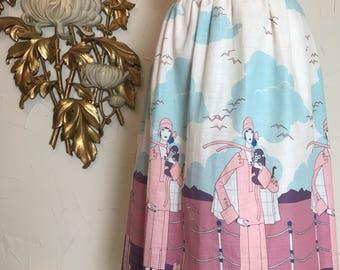 1970s skirt novelty print skirt cotton skirt vintage skirt size medium monkey skirt flapper print summer skirt padrel skirt 28 waist
