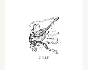 Xmas in July Bullfrog Playing a Mandolin and Singing Ex Libris Bookplate Rubber Stamp K26