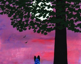 Australian Cattle Dog Blue Heeler LARGE art print by Todd Young TWILIGHT