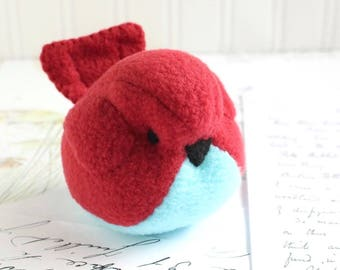 Red and Blue Fleece Bird Stuffed Animal Childrens Handmade Plush Toy Red Bird Stuffie