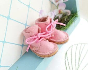 Lace Up Shoes Mini Leather Pink Lace Up Boots For Neo Blythe Doll Azone Pure Neemo M S Body Hand Made By MizuSGarden