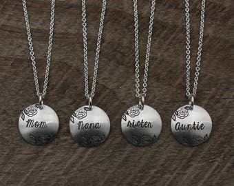 Sterling Silver Hand Stamped Family Necklace