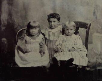 Vintage Tin Type Children Antique Photograph