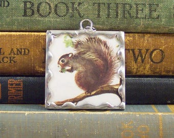 Squirrel in Tree Pendant - Soldered Glass Pendant Charm with Vintage Illustration - Oh Nuts Squirrel Charm - Book Pendant - Squirrel Pendant