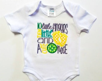 Baby Shower Gift -  Ready To Ship - 10 Little Fingers - 10 Little Toes - Cute Button Nose - Custom Embroidery - Infant Bodysuit