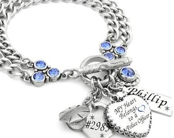 Police Officer Bracelet, Personalized Charm Bracelet, Police Officer Name, Custom Law Enforcement Jewelry, Policeman Bracelet