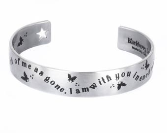 Memorial Cuff Bracelet with engraved remembrance Quote, Personalized name and engraved Butterflies, comes in three sizes