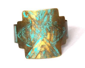 Geometric Etched Brass and Turquoise Patina Cuff (B1376)