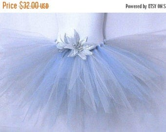 "SUMMER SALE 20% OFF Snowflakes and Icicles, a frost pixie - 11"" Sewn Pixie Tutu in White Blue and Silver - sizes newborn up to 5T - Made-To-"