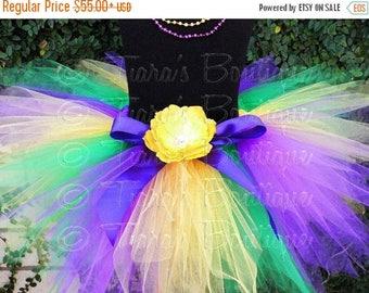 SUMMER SALE 20% OFF Mardi Gras Pixie Tutu - For Pre-teens Teens or Adults - Custom Sewn 15'' Pixie Tutu - Purple Green Yellow