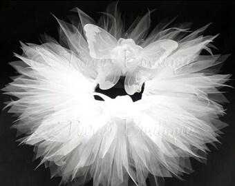 "SUMMER SALE 20% OFF White Tutu Fairy Wings Infant Costume - Angelic Tutu Set - Sewn 8"" Pixie Tutu & Wings -  sizes newborn to 12 months - Ph"