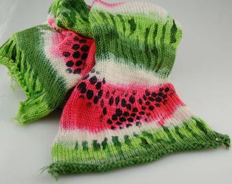 "Double knit Sock Blanks- ""Watermelon"" stenciled to look like a slice of watermelon"