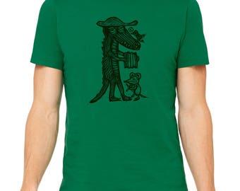 Cajun Gator Hand Carved   Woodblock Printed T Shirt