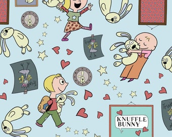 Knuffle Bunny fabric from  Cloud Nine, All Things Fun Blue, Organic Cotton, yard