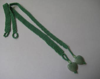 Beaded Bookmark in Jade Green