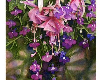 "5x7 Floral Greeting Card ""Fuchsia"""