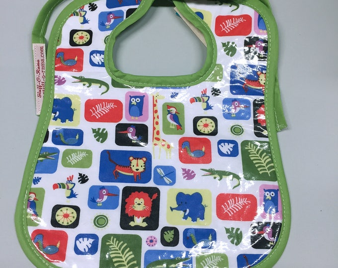 Wipeable Baby Bibs - Zoo Animals