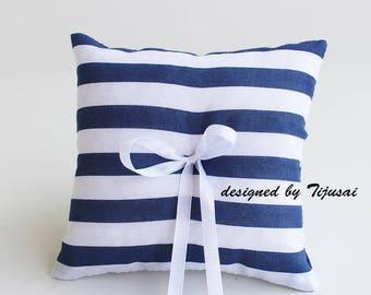 Marine stripy Wedding Ring bearer pillow -ring bearer, ring cushion, ready to ship