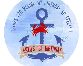 Nautical Stickers, Anchor Stickers, Crab stickers, Nautical 1st Birthday Party, wedding, Favor labels, gift stickers, nautical favors,Ocean