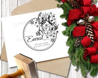 Custom Rubber Stamp Christmas Holiday Return Address Modern Address Stamp Custom Address Stamp Personalized Address Stamp JLMould Cards