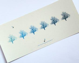 Card, blue tree C037