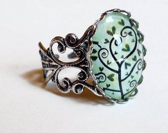 Vintage tree BA060 hearts and spirals ring