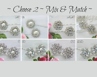 Choose 2 Bridesmaids Hair pin, Silver and Crystal,  Bobby Pins ,crystal hair clips, rhinestone, hair flower, hair brooch