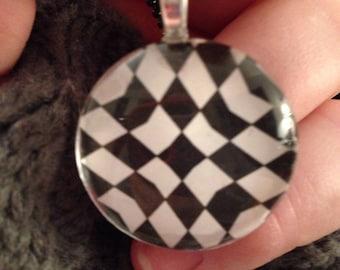 Black and White graphic glass pendant