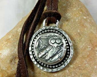 Ancient Greek Coin Pendant, Athena owl ancient coin necklace , Heavy Sterling Silver and owl coin Pendant, Ancient coin Jewelry