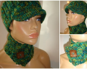 Green Blend Hat and Neckwarmer Set - Cowl, Cap, Crochet hat set - handmade cap and scarf - Custom Colors