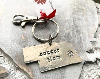 Sale! Nebraska Soccer Mom Key Ring - Hand Stamped Soccer Mom Key Ring - Nebraska Key Ring