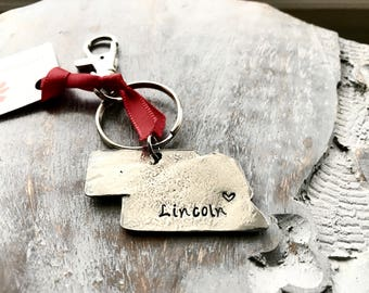 Sale! Lincoln, Nebraska  Key Ring - Hand Stamped Nebraska Key Ring - Nebraska Key Ring - Lincoln, Nebraska