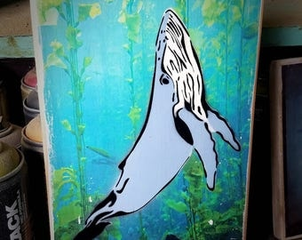 Humpback Whale Mixed Media Graffiti Art Painting on Photo Transfer Original Art on Handmade Canvas Home Decor Pop Art Ocean Kids Room