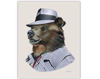 Grizzly Bear animal art print by Ryan Berkley 5x7