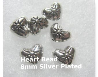 Bali Style Heart Spacer Bead 8 mm 48 Spacer Beads Silver Plated Beads
