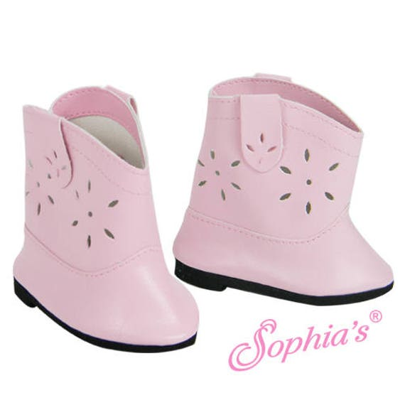 Pink Cowgirl Boots - 18 Inch Doll Shoes