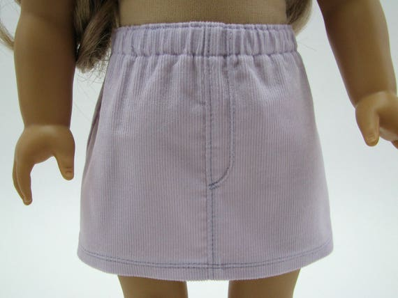 """Fits Like American Girl Doll Clothes - 18 Inch Doll Clothes - 18"""" Doll Clothes -  Light Lavender Corduroy Skirt - 18 Inch Skirt"""