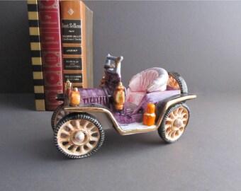 Vintage Old Car, Glass Car, Old Jalopy, Garage Decoration, Car Collector Gift, Old Buggy