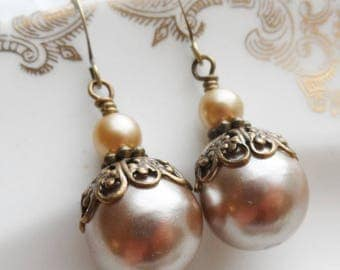 Sale, Mocha Frost, Vintage Faux Pearl Bead Earrings, Tan, Golden Brown, Shimmer