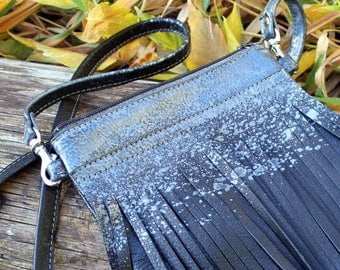 silver smear soft black leather fringe crossbody bag