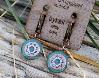 little copper and lock washer lever back earrings in mint green